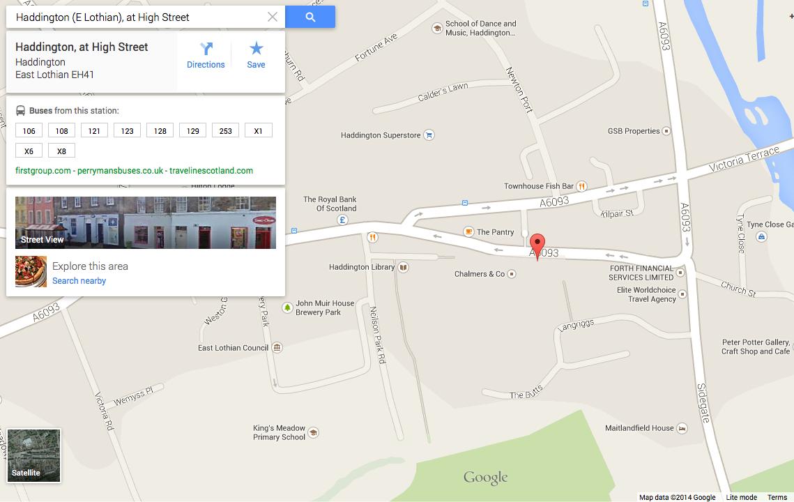 Snapshot of Haddington bus information from Google Maps