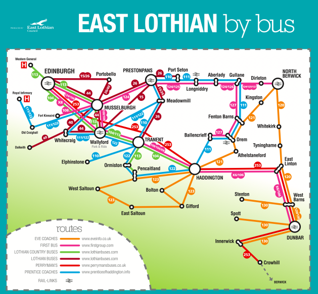 Lothian Buses Map East Lothian bus maps – RELBUS Lothian Buses Map